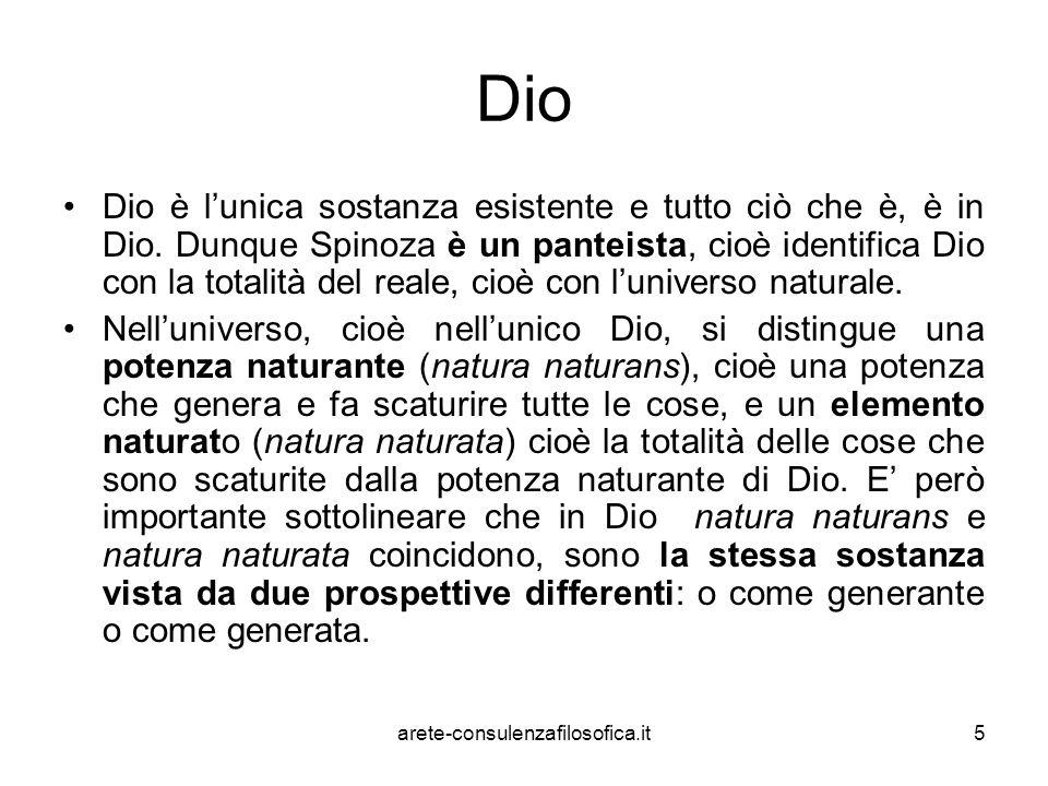 5 Dio Dio è l'unica sostanza esistente e tutto ciò che è, è in Dio. Dunque Spinoza è un panteista, cioè identifica Dio con la totalità del reale, cioè