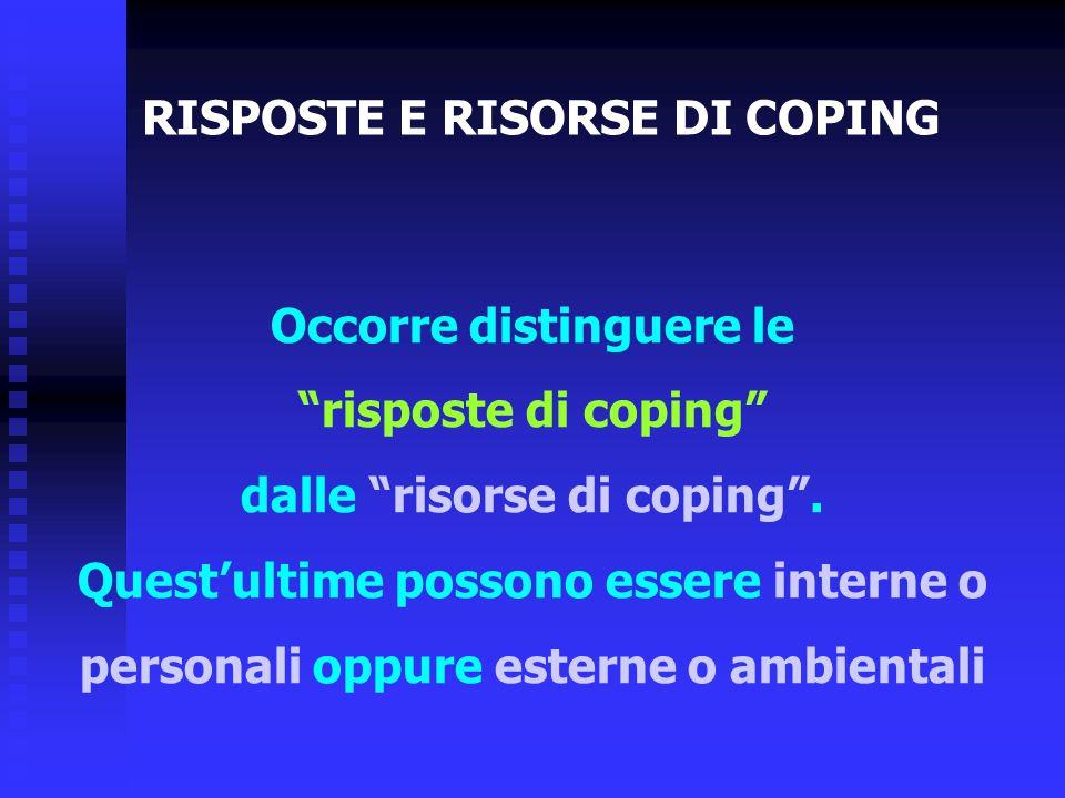 """Occorre distinguere le """"risposte di coping"""" dalle """"risorse di coping"""". Quest'ultime possono essere interne o personali oppure esterne o ambientali RIS"""