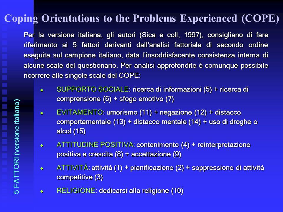 Per la versione italiana, gli autori (Sica e coll, 1997), consigliano di fare riferimento ai 5 fattori derivanti dall'analisi fattoriale di secondo or