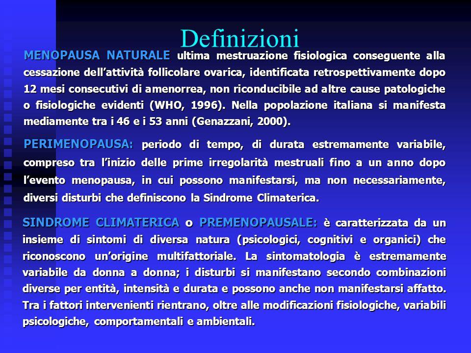 Definizioni MENOPAUSA NATURALE ultima mestruazione fisiologica conseguente alla cessazione dell'attività follicolare ovarica, identificata retrospetti