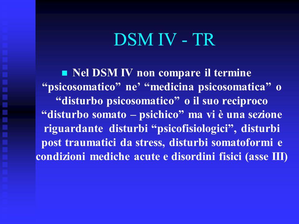 """DSM IV - TR Nel DSM IV non compare il termine """"psicosomatico"""" ne' """"medicina psicosomatica"""" o """"disturbo psicosomatico"""" o il suo reciproco """"disturbo som"""
