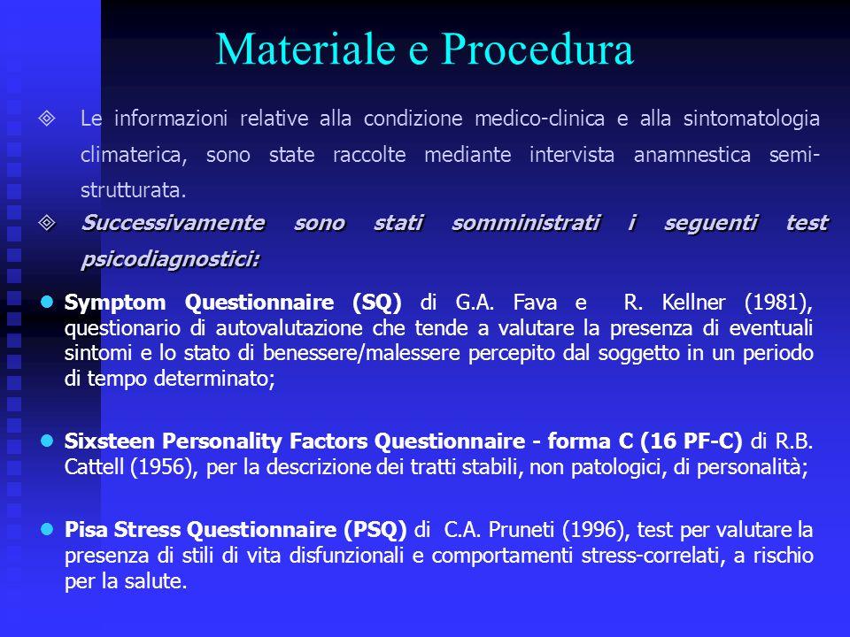Materiale e Procedura  Le informazioni relative alla condizione medico-clinica e alla sintomatologia climaterica, sono state raccolte mediante interv
