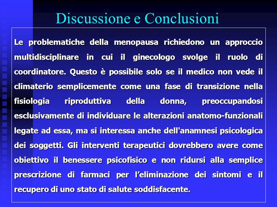 Discussione e Conclusioni Le problematiche della menopausa richiedono un approccio multidisciplinare in cui il ginecologo svolge il ruolo di coordinat