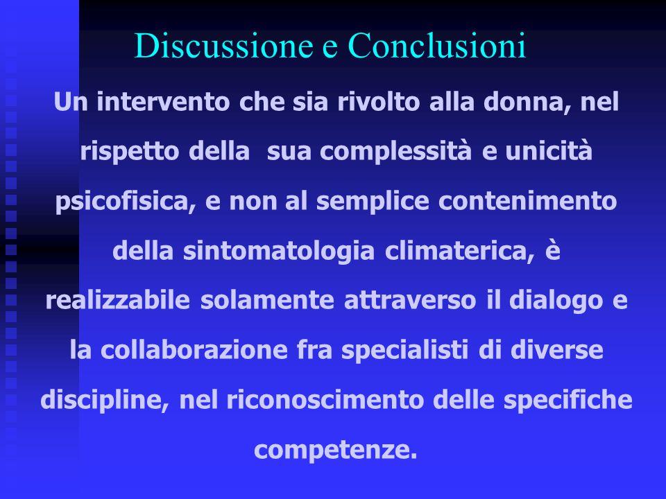 Discussione e Conclusioni Un intervento che sia rivolto alla donna, nel rispetto della sua complessità e unicità psicofisica, e non al semplice conten