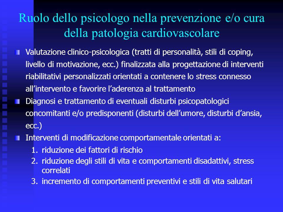 Valutazione clinico-psicologica (tratti di personalità, stili di coping, livello di motivazione, ecc.) finalizzata alla progettazione di interventi ri