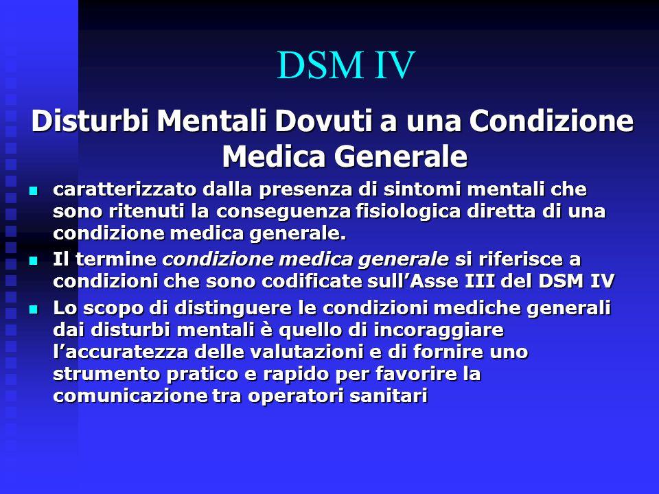 DSM IV Disturbi Mentali Dovuti a una Condizione Medica Generale caratterizzato dalla presenza di sintomi mentali che sono ritenuti la conseguenza fisi