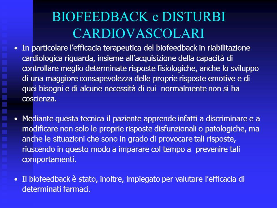 In particolare l'efficacia terapeutica del biofeedback in riabilitazione cardiologica riguarda, insieme all'acquisizione della capacità di controllare