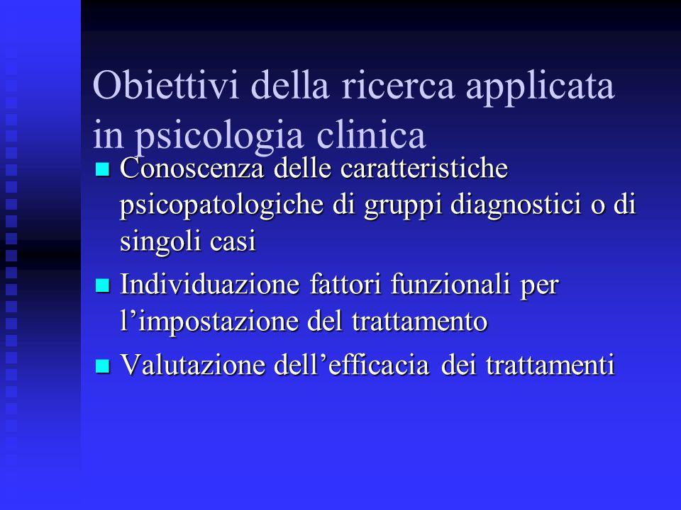 Obiettivi della ricerca applicata in psicologia clinica Conoscenza delle caratteristiche psicopatologiche di gruppi diagnostici o di singoli casi Cono