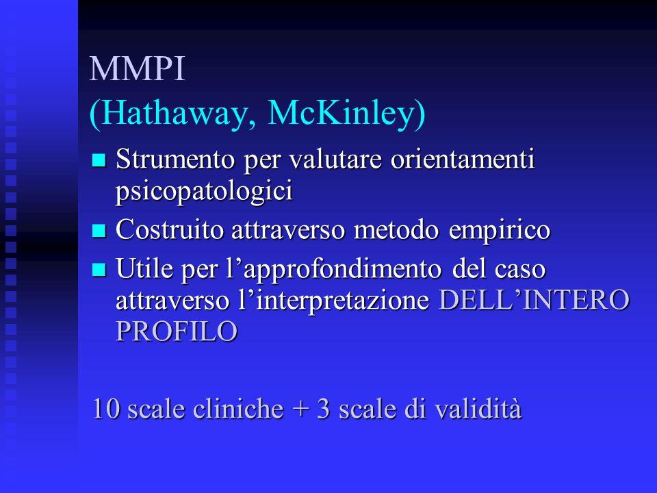 MMPI (Hathaway, McKinley) Strumento per valutare orientamenti psicopatologici Strumento per valutare orientamenti psicopatologici Costruito attravers