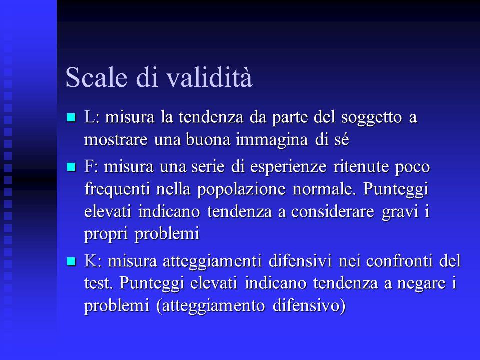 Scale di validità L: misura la tendenza da parte del soggetto a mostrare una buona immagina di sé L: misura la tendenza da parte del soggetto a mostra