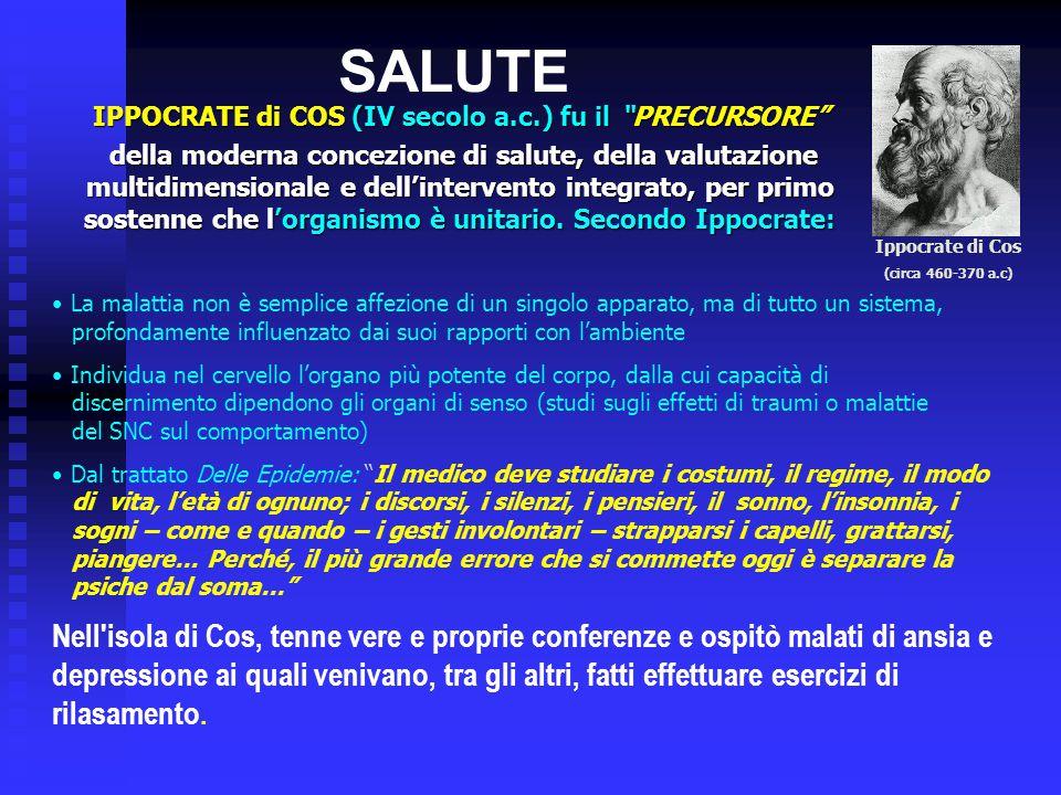 """SALUTE IPPOCRATE di COS (IV secolo a.c.) fu il """"PRECURSORE"""" della moderna concezione di salute, della valutazione multidimensionale e dell'intervento"""