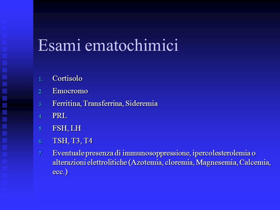 Esami ematochimici 1. Cortisolo 2. Emocromo 3. Ferritina, Transferrina, Sideremia 4. PRL 5. FSH, LH 6. TSH, T3, T4 7. Eventuale presenza di immunosopp