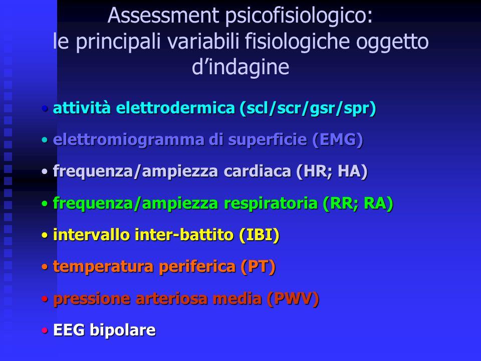 Assessment psicofisiologico: le principali variabili fisiologiche oggetto d'indagine attività elettrodermica (scl/scr/gsr/spr) attività elettrodermica