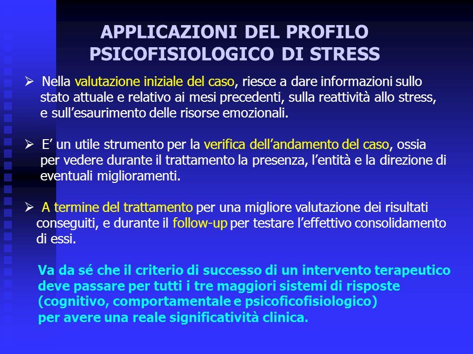 APPLICAZIONI DEL PROFILO PSICOFISIOLOGICO DI STRESS  Nella valutazione iniziale del caso, riesce a dare informazioni sullo stato attuale e relativo a