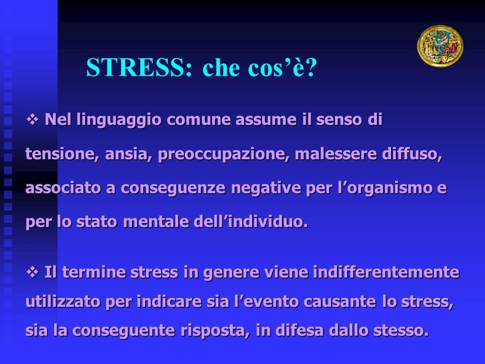 STRESS: che cos'è?  Nel linguaggio comune assume il senso di tensione, ansia, preoccupazione, malessere diffuso, associato a conseguenze negative per