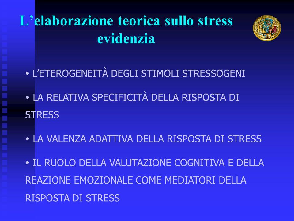 L'elaborazione teorica sullo stress evidenzia  L'ETEROGENEITÀ DEGLI STIMOLI STRESSOGENI  LA RELATIVA SPECIFICITÀ DELLA RISPOSTA DI STRESS  LA VALEN