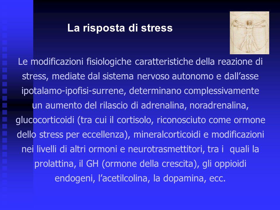 Le modificazioni fisiologiche caratteristiche della reazione di stress, mediate dal sistema nervoso autonomo e dall'asse ipotalamo-ipofisi-surrene, de