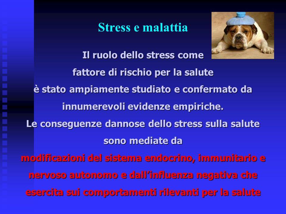 Stress e malattia Il ruolo dello stress come fattore di rischio per la salute è stato ampiamente studiato e confermato da innumerevoli evidenze empiri