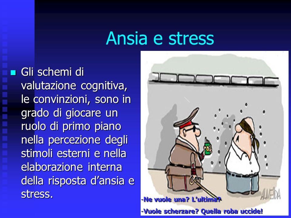 Ansia e stress Gli schemi di valutazione cognitiva, le convinzioni, sono in grado di giocare un ruolo di primo piano nella percezione degli stimoli es
