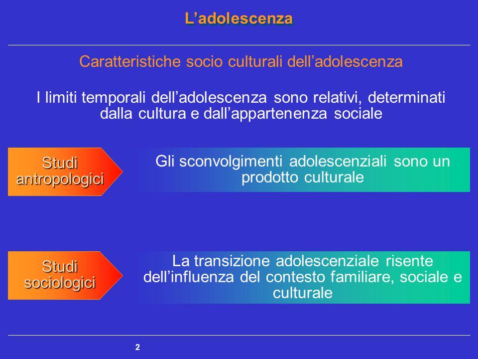 L'adolescenza 2 I limiti temporali dell'adolescenza sono relativi, determinati dalla cultura e dall'appartenenza sociale Studi antropologici Studi sociologici Gli sconvolgimenti adolescenziali sono un prodotto culturale La transizione adolescenziale risente dell'influenza del contesto familiare, sociale e culturale Caratteristiche socio culturali dell'adolescenza