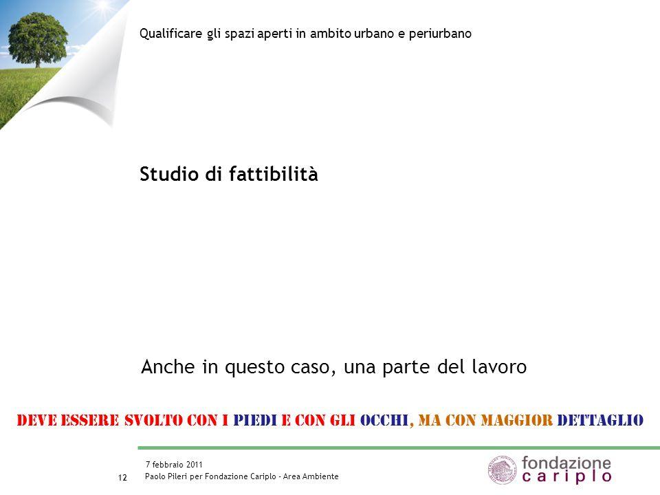 Paolo Pileri per Fondazione Cariplo - Area Ambiente 7 febbraio 2011 13 Studio di fattibilità Qualificare gli spazi aperti in ambito urbano e periurbano Il bando