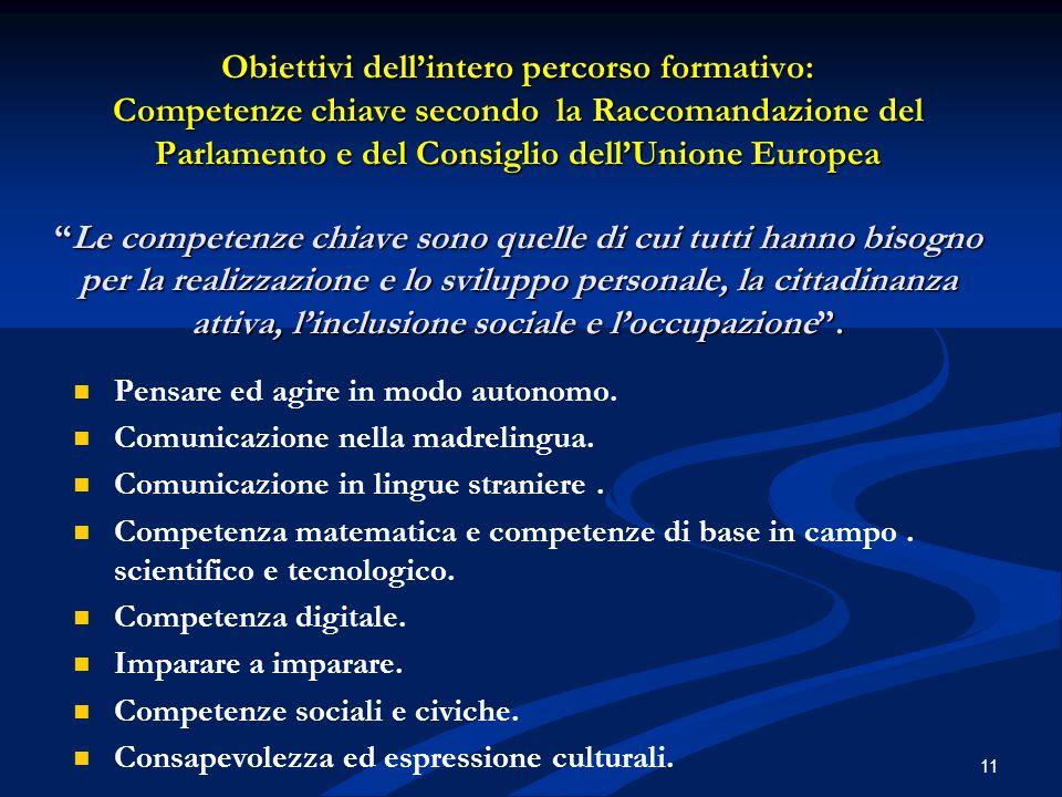 """Obiettivi dell'intero percorso formativo: Competenze chiave secondo la Raccomandazione del Parlamento e del Consiglio dell'Unione Europea """"Le competen"""