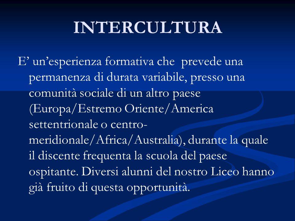 INTERCULTURA E' un'esperienza formativa che prevede una permanenza di durata variabile, presso una comunità sociale di un altro paese (Europa/Estremo