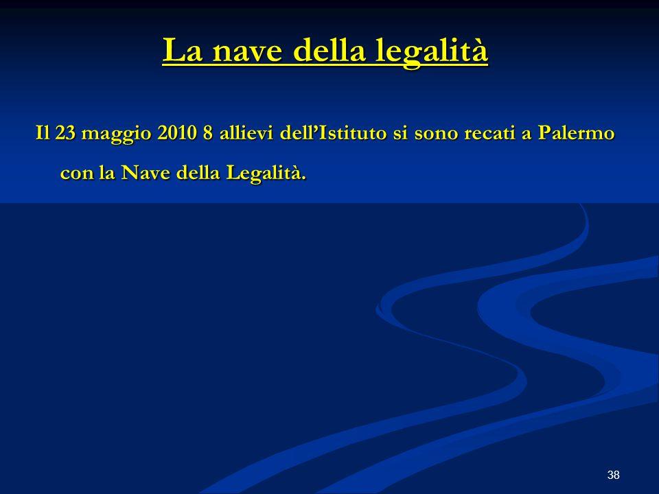 La nave della legalità Il 23 maggio 2010 8 allievi dell'Istituto si sono recati a Palermo con la Nave della Legalità. 38