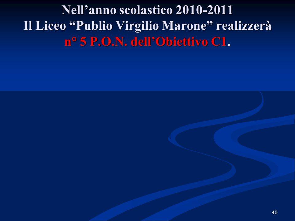 """Nell'anno scolastico 2010-2011 Il Liceo """"Publio Virgilio Marone"""" realizzerà n° 5 P.O.N. dell'Obiettivo C1. 40"""