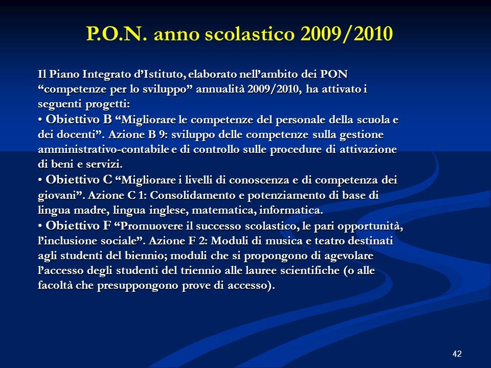 """P.O.N. anno scolastico 2009/2010 Il Piano Integrato d'Istituto, elaborato nell'ambito dei PON """"competenze per lo sviluppo"""" annualità 2009/2010, ha att"""
