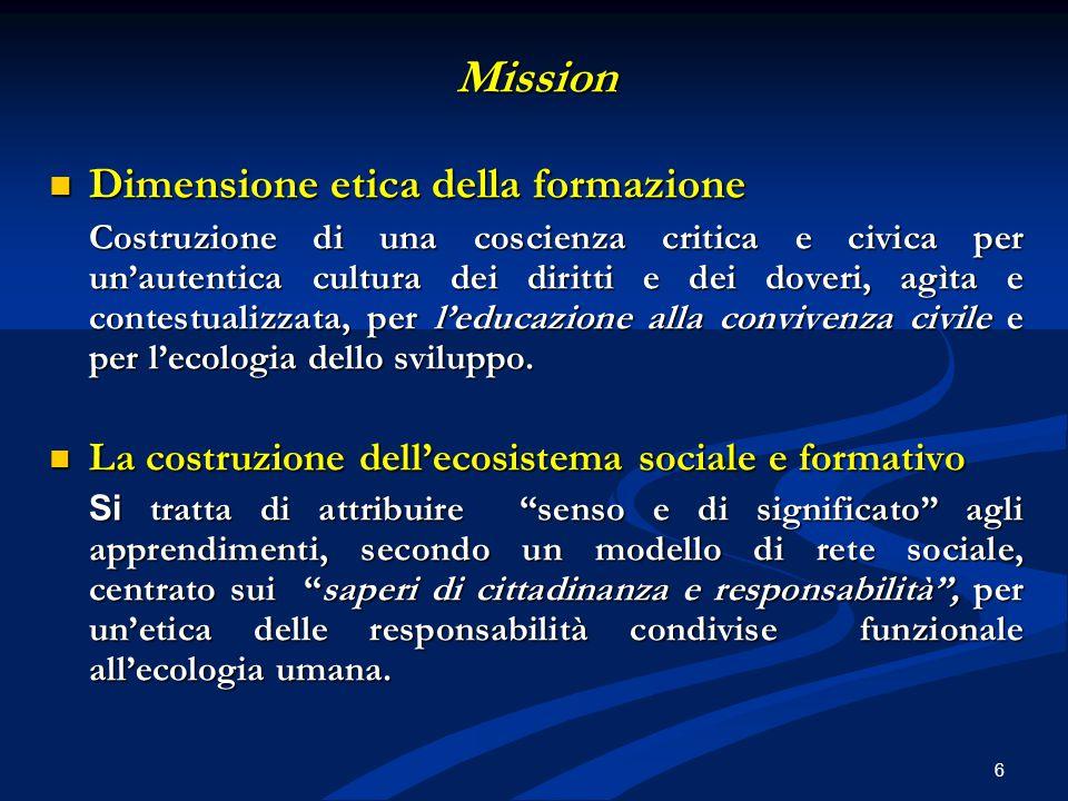 Mission Dimensione etica della formazione Dimensione etica della formazione Costruzione di una coscienza critica e civica per un'autentica cultura dei