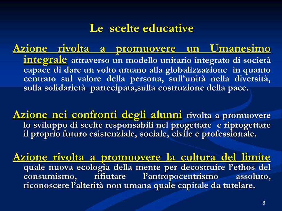 Le scelte educative Azione rivolta a promuovere un Umanesimo integrale Azione rivolta a promuovere un Umanesimo integrale attraverso un modello unitar