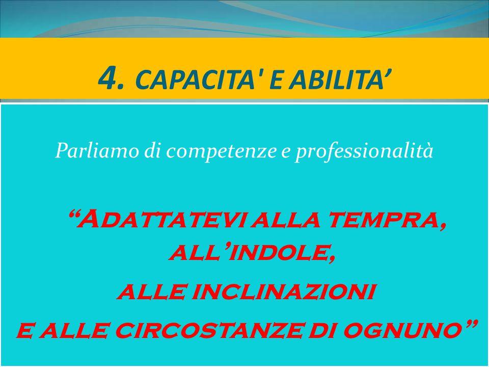 """4. CAPACITA' E ABILITA' Parliamo di competenze e professionalità """"Adattatevi alla tempra, all'indole, alle inclinazioni e alle circostanze di ognuno"""""""