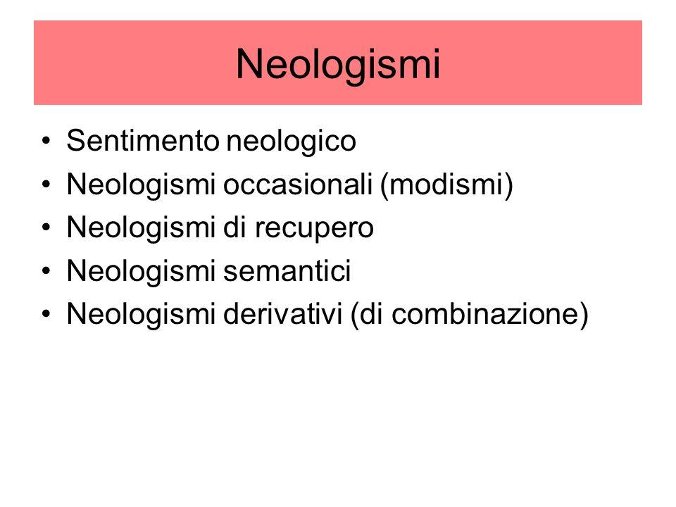 Neologismi Sentimento neologico Neologismi occasionali (modismi) Neologismi di recupero Neologismi semantici Neologismi derivativi (di combinazione)