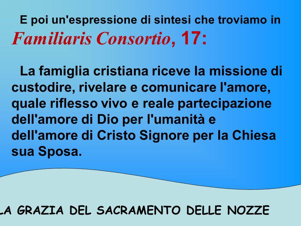 LA GRAZIA DEL SACRAMENTO DELLE NOZZE La Familiaris Consortio al n.