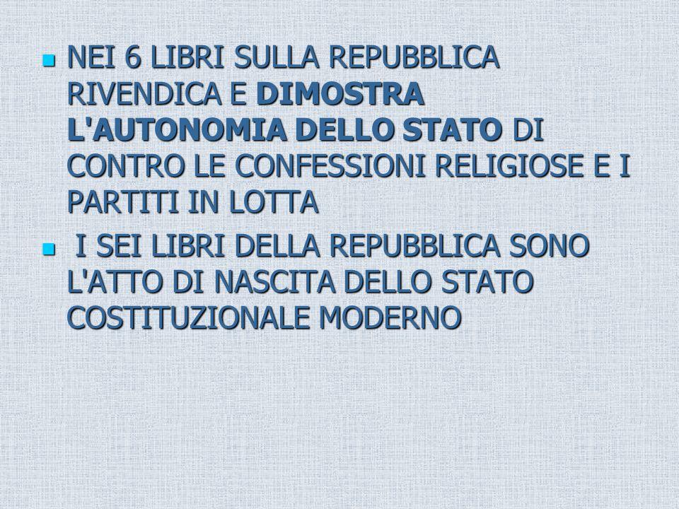 NEI 6 LIBRI SULLA REPUBBLICA RIVENDICA E DIMOSTRA L AUTONOMIA DELLO STATO DI CONTRO LE CONFESSIONI RELIGIOSE E I PARTITI IN LOTTA NEI 6 LIBRI SULLA REPUBBLICA RIVENDICA E DIMOSTRA L AUTONOMIA DELLO STATO DI CONTRO LE CONFESSIONI RELIGIOSE E I PARTITI IN LOTTA I SEI LIBRI DELLA REPUBBLICA SONO L ATTO DI NASCITA DELLO STATO COSTITUZIONALE MODERNO I SEI LIBRI DELLA REPUBBLICA SONO L ATTO DI NASCITA DELLO STATO COSTITUZIONALE MODERNO