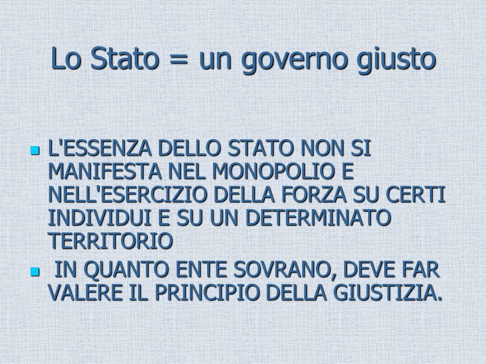 Lo Stato = un governo giusto L'ESSENZA DELLO STATO NON SI MANIFESTA NEL MONOPOLIO E NELL'ESERCIZIO DELLA FORZA SU CERTI INDIVIDUI E SU UN DETERMINATO