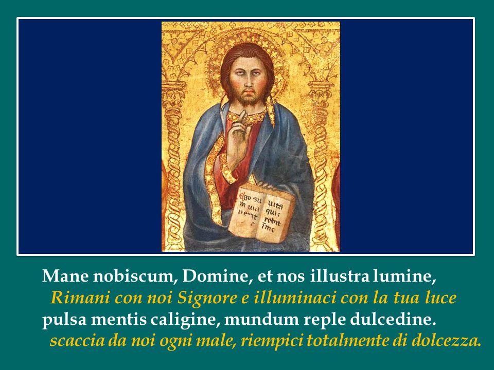 Mane nobiscum, Domine, et nos illustra lumine, Rimani con noi Signore e illuminaci con la tua luce pulsa mentis caligine, mundum reple dulcedine.