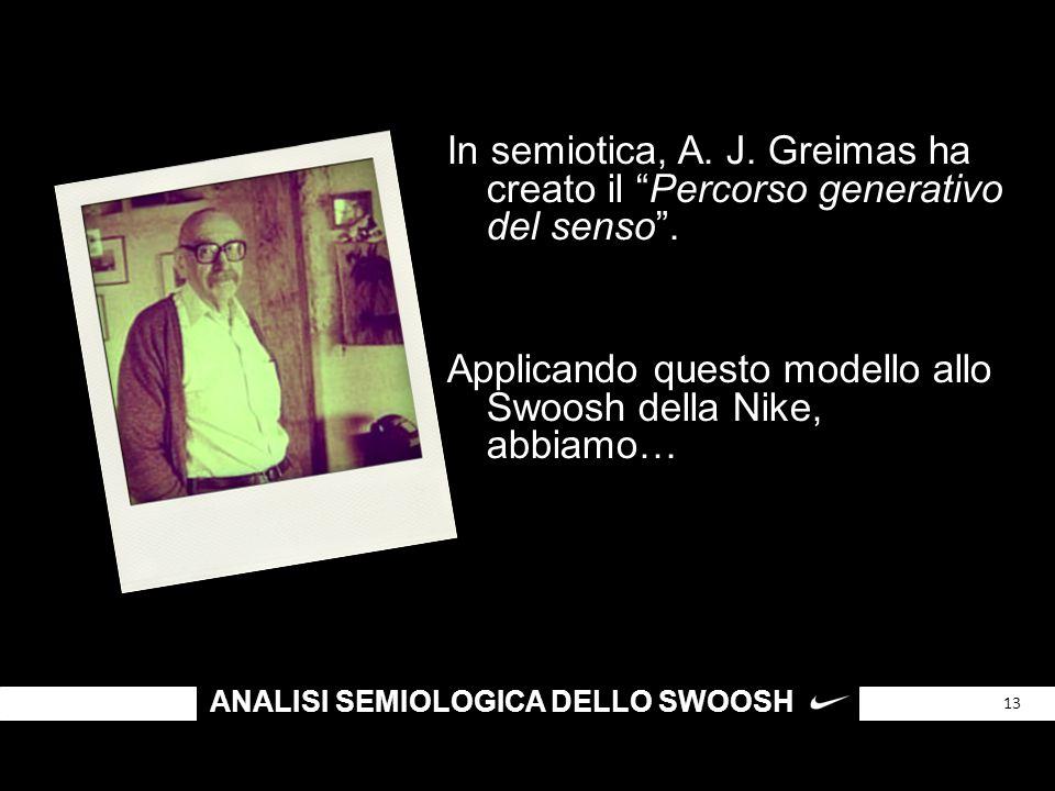 """ANALISI SEMIOLOGICA DELLO SWOOSH 13 In semiotica, A. J. Greimas ha creato il """"Percorso generativo del senso"""". Applicando questo modello allo Swoosh de"""