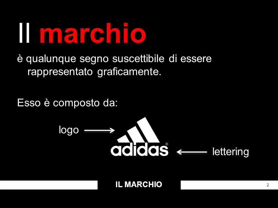 Il marchio è qualunque segno suscettibile di essere rappresentato graficamente. Esso è composto da: IL MARCHIO 2 logo lettering