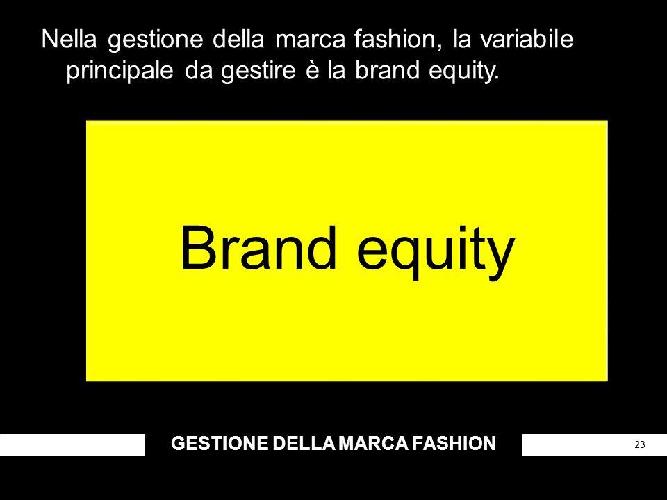 GESTIONE DELLA MARCA FASHION 23 Nella gestione della marca fashion, la variabile principale da gestire è la brand equity. Brand equity