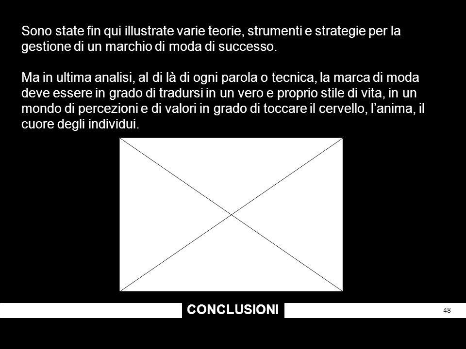 CONCLUSIONI 48 Sono state fin qui illustrate varie teorie, strumenti e strategie per la gestione di un marchio di moda di successo. Ma in ultima anali