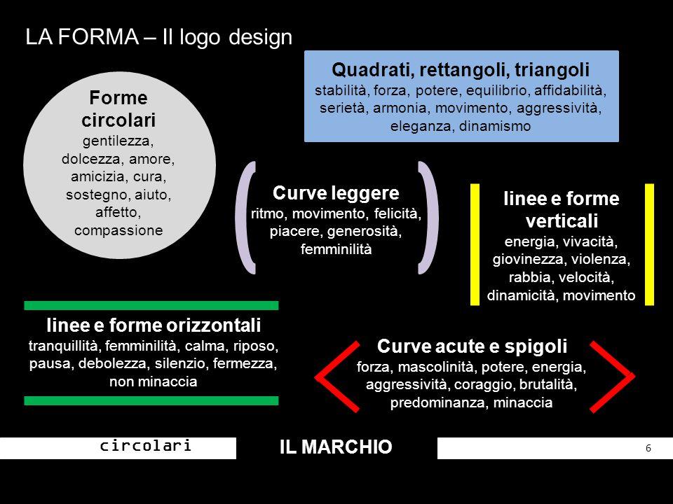 LA FORMA – Il logo design IL MARCHIO 6 Forme circolari Curve acute e spigoli forza, mascolinità, potere, energia, aggressività, coraggio, brutalità, p