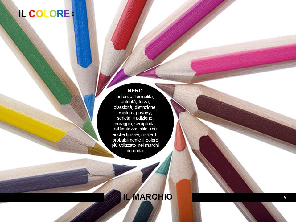 IL COLORE: IL MARCHIO 10 GRIGIO autorevolezza, mentalità aziendale, intelligenza, maturità, umiltà, funzionalità, rispetto, stabilità, ma anche ottusità, noia, tristezza.