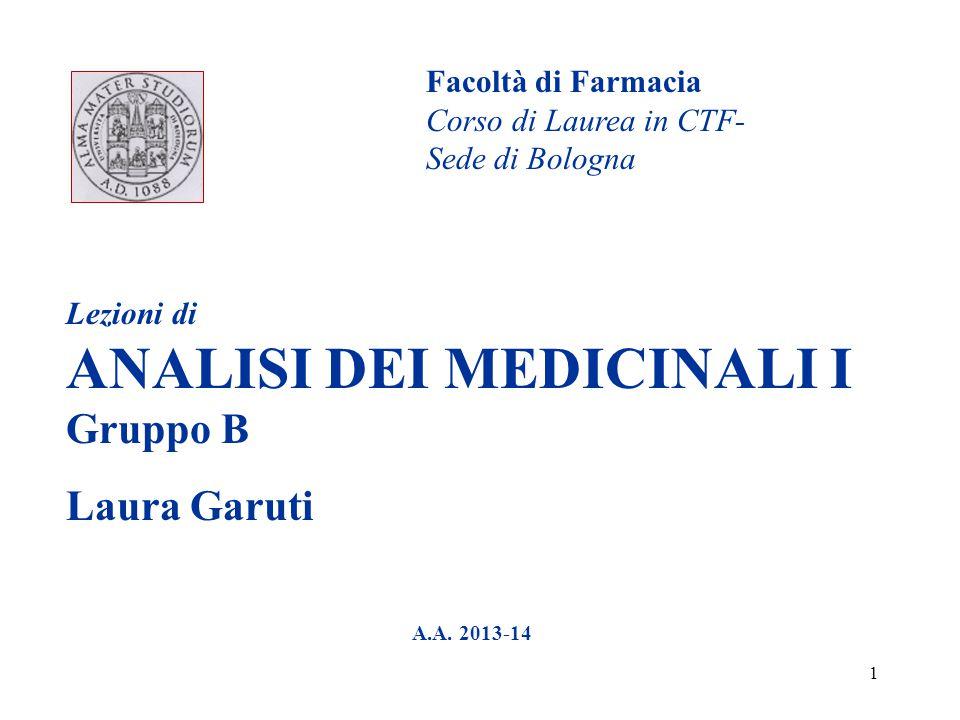 1 Lezioni di ANALISI DEI MEDICINALI I Gruppo B Laura Garuti A.A. 2013-14 Facoltà di Farmacia Corso di Laurea in CTF- Sede di Bologna