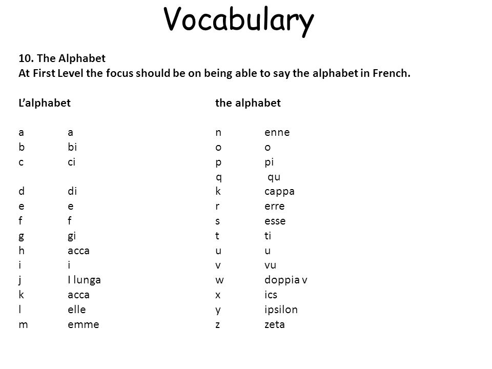 Vocabulary 10.