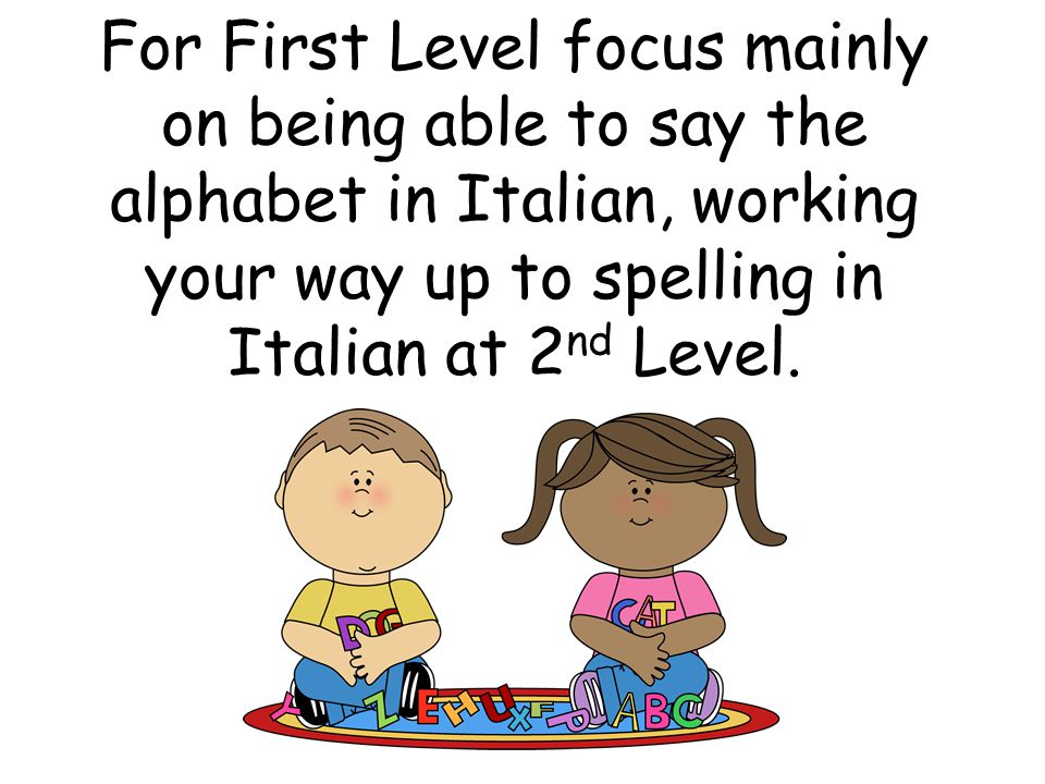 For First Level focus mainly on being able to say the alphabet in Italian, working your way up to spelling in Italian at 2 nd Level.