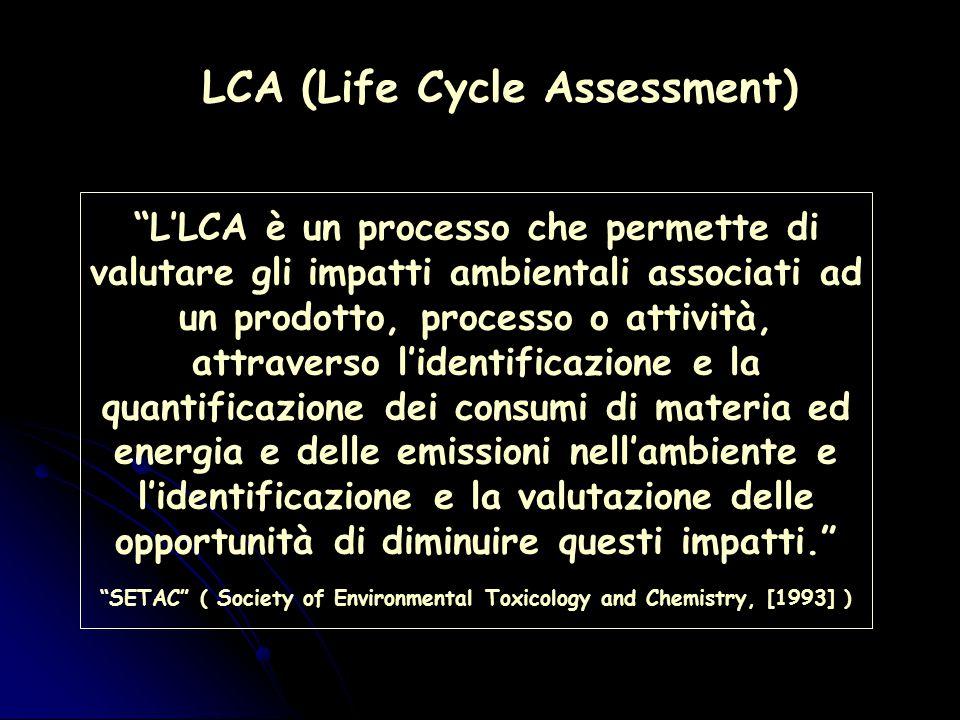 L'LCA è un processo che permette di valutare gli impatti ambientali associati ad un prodotto, processo o attività, attraverso l'identificazione e la quantificazione dei consumi di materia ed energia e delle emissioni nell'ambiente e l'identificazione e la valutazione delle opportunità di diminuire questi impatti. SETAC ( Society of Environmental Toxicology and Chemistry, [1993] )