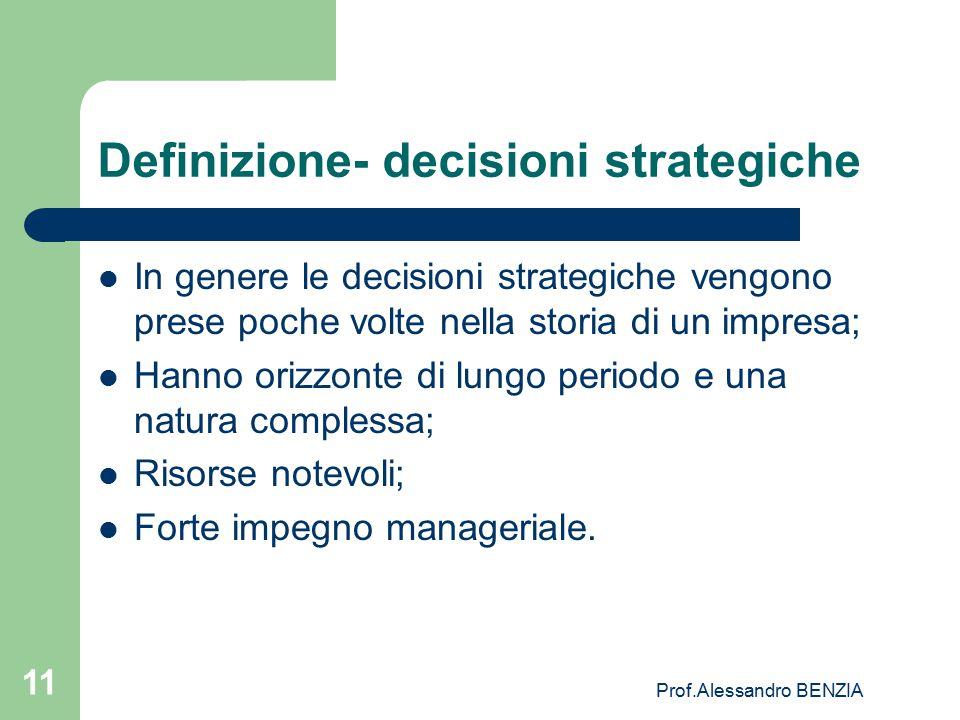 Prof.Alessandro BENZIA 11 Definizione- decisioni strategiche In genere le decisioni strategiche vengono prese poche volte nella storia di un impresa;