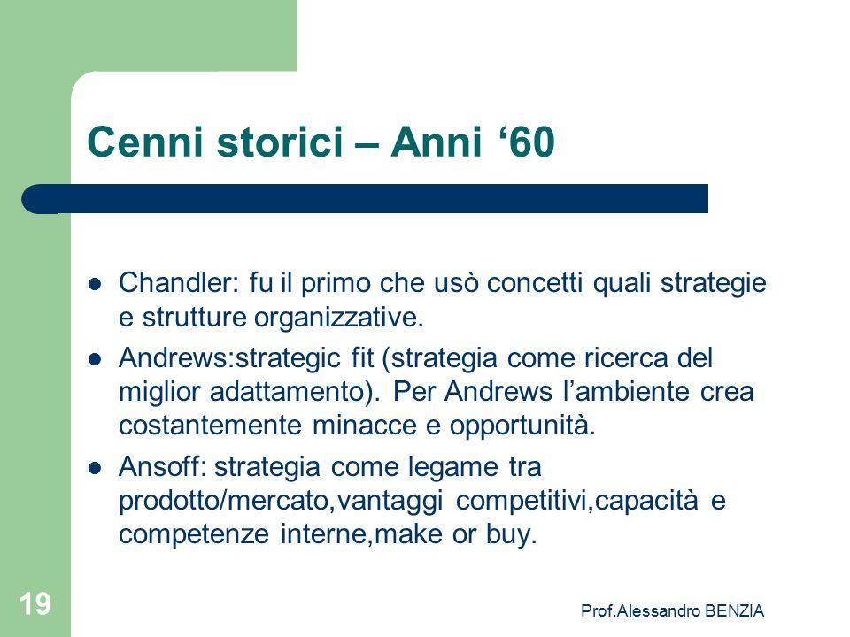 Prof.Alessandro BENZIA 19 Cenni storici – Anni '60 Chandler: fu il primo che usò concetti quali strategie e strutture organizzative. Andrews:strategic